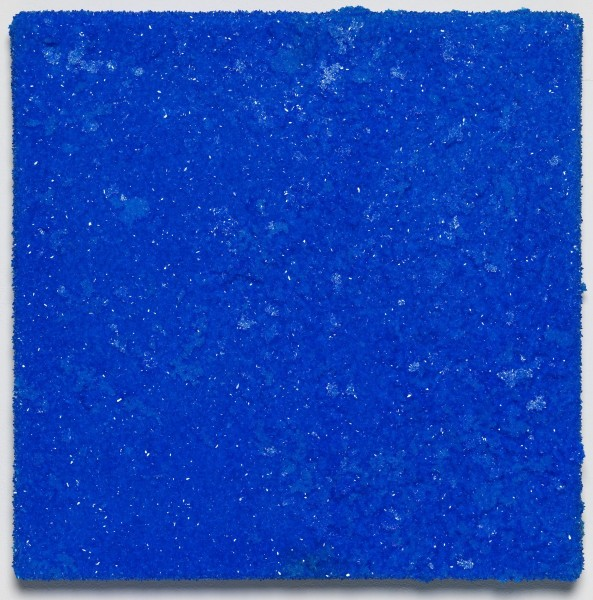 Roger Hiorns, Untitled, 2015, brain matter and copper sulphate on canvas, 41 x 41 x 3.5cm. Courtesy Corvi-Mora, London. Photography Marcus Leith, London.