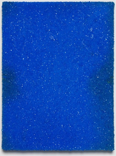 Roger Hiorns, Untitled, 2015, copper sulphate on canvas, 41 x 31 x 3.5cm. Courtesy Corvi-Mora, London. Photography Marcus Leith, London.