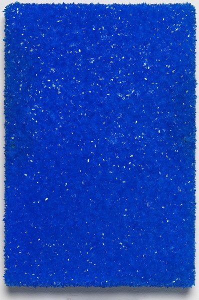 Roger Hiorns, Untitled, 2015, copper sulphate on canvas, 31 x 21 x 3.5cm. Courtesy Corvi-Mora, London. Photography Marcus Leith, London.