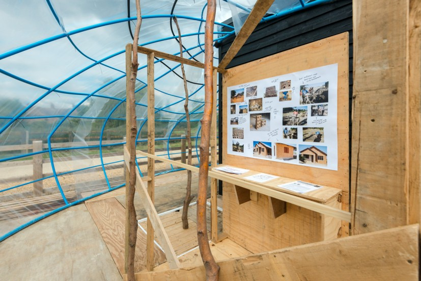 Fernando García-Dory, Dwelling Model: Unsettled Research Centre for Sustainability and the Built Environment an installation and seminar developed in collaboration with the Department of Engineering's Centre for Sustainable Development, from GRAVEL: notes from the other side of the fence, 28-30 May 2015. Photo: Joe Plommer