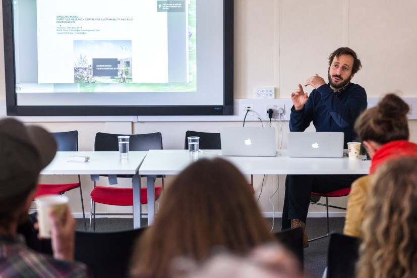 Fernando García-Dory presenting work developed during his 2014-2015 Residency at University of Cambridge's North West Cambridge Development, from GRAVEL: notes from the other side of the fence, 28-30 May 2015. Photo: Joe Plommer