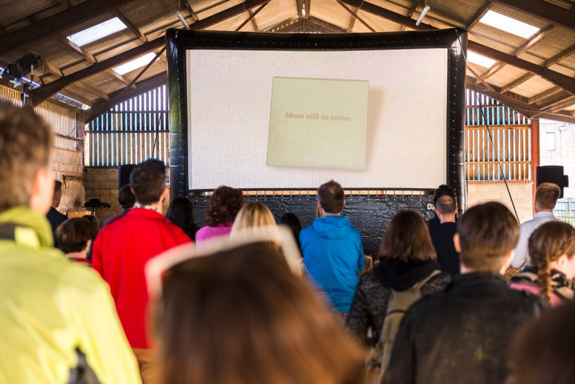 Bedwyr Williams, Century Egg, public screening as part of GRAVEL: notes from the other side of the fence, 28-30 May 2015. Photo: Joe Plommer
