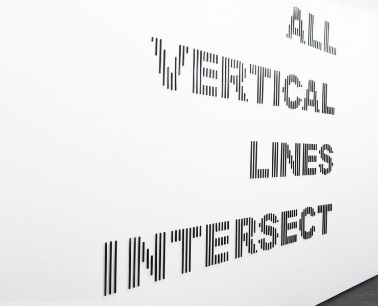 All Vertical Lines Intersect, steel bars hung on nails, 276 x 224cm, 2013. Image courtesy the artist and CØPPERFIELD, London, © the artist