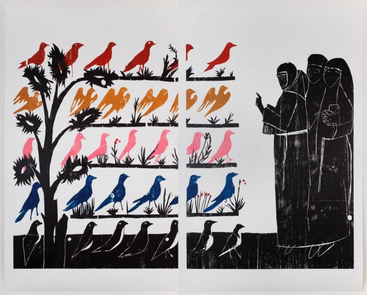 Andrea Büttner, 'Vogelpredigt (sermon to the birds) (2010)', Woodcut, diptych,  117 x 180 cm. © Andrea Büttner. Photo: Thor Brødreskift.