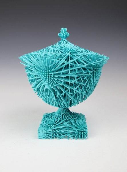 Michael Eden Cyan Bloom (2014) 3D printed in high-quality nylon with unique mineral soft coating 22 x 19cm Edition 18/24.