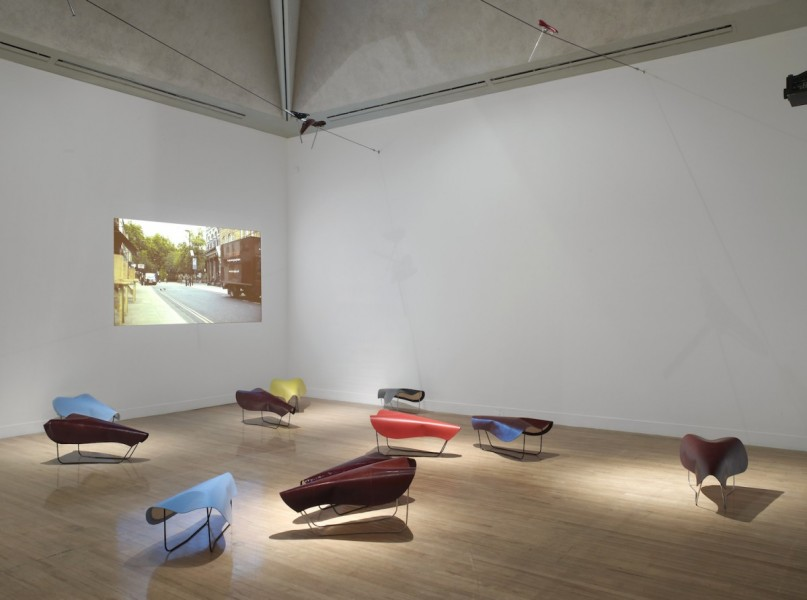 'Mindless, Mindless', installation view at Art Now, Tate Britain, London, 2012-13. Saddles each: 100 x 55 x 50cm, leather, steel, jesmonite. Image courtesy Carl Freedman Gallery, London and the artist, © the artist
