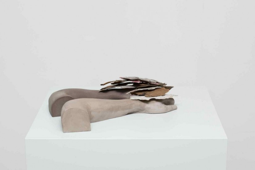Mouse forearms X London Plane, jesmonite, resin, paint and bark, 50 x 30 x 10cm, 2012. Image courtesy Carl Freedman Gallery, London and the artist, © the artist