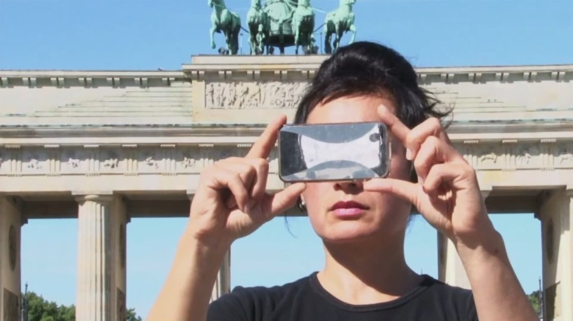 Still from Hito Steyerl, 'Abstract', 2012, Double screen two channel HD video with sound, 7 minutes and 30 seconds. Edition of 7, with 2 APs. Presented to GoMA by the Contemporary Art Society through the Collections Fund, 2016.