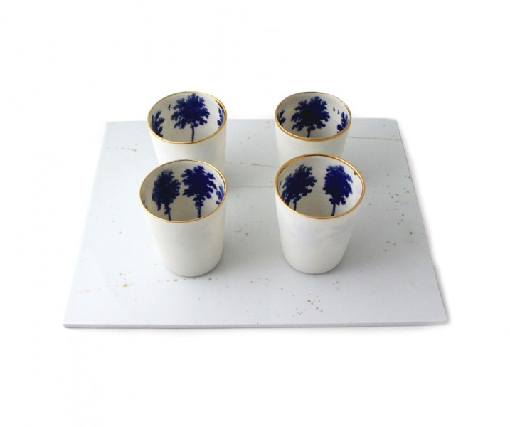 Scott's Cumbrian Blue(s) – Wallendorf Porcelain Tile with 4 Porcelain Summer Tree 'Shots' – Porcelain (2013) In-glaze decals and gold lustre 25 x 5 x 20cm. Image ©Birmingham Museums Trust