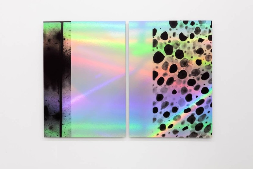 Anna Barham, flashIMG_0666_inv_chromatophore.jpg, UV print on rainbow holographic paper, mounted on aluminium, 96.5 x 143cm, 2015. Image courtesy the artist and Arcade, London.