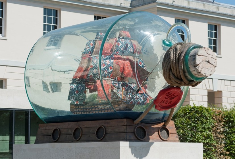 Yinka Shonibare MBE, Nelson's Ship in a Bottle, 2012. Photo: National Maritime Museum, Greenwich, London, courtesy of the artist and Stephen Friedman Gallery, London and James Cohan Gallery, New York