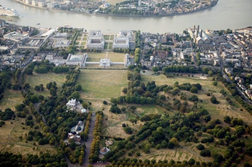 Aerial view of Greenwich World Heritage Site, showing the Royal Observatory Greenwich, Queen's House and National Maritime Museum. Photo courtesy National Maritime Museum, Greenwich, London