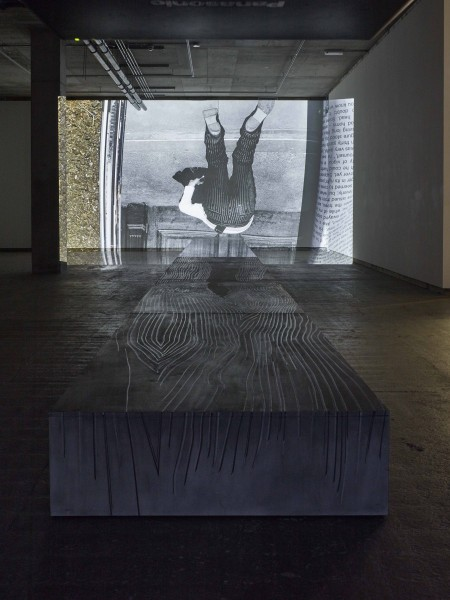 Fiona Banner, Phantom (SS16), 2015, graphite, vinyl, birch plywood with high definition digital film, 39 x 1540 x 122 cm (runway), 9.28 minutes (film). Image courtesy the artist and Frith Street Gallery, London. Photo: Stephen White