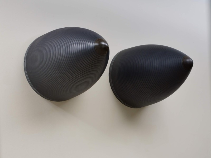 Fiona Banner,Nose Art, 2015, graphite, Harrier jump jet nose cones, 107(h) x 79(dia)cm (each). Image courtesy the artist and Frith Street Gallery, London. Photo: Stephen White