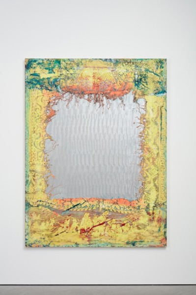 Mark Flood, Colonial Mirror, 2015, acrylic on canvas, 203.2 x 152.4 cm. Courtesy of Stuart Shave/Modern Art