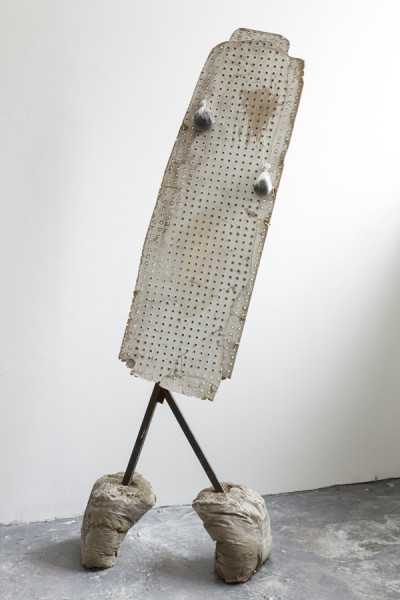 Perforated (pregnant), mixed media, 180 x 50 x 50cm, 2014. Image courtesy the artist, photo: Michael Franke, © the artist