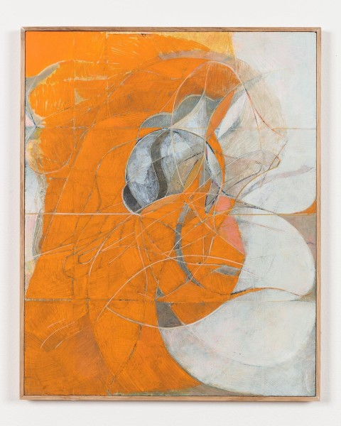 Nicholas Byrne, Past life, orange, oil on gessoed panel with artists frame, 50 x 40 x 2 cm, 2015. Image courtesy the artist and Vilma Gold, London. Photo: Mark Blower.