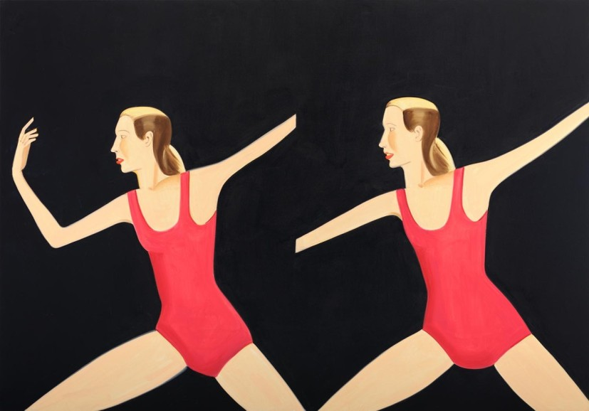 Alex Katz, Double Sarah B., 2011. Oil on linen, 84 x 120 inches. Collection of the artist. Photography by Paul Takeuchi. From 'Tightrope Walk: Painted Images After Abstraction', North & South Galleries, White Cube Bermondsey, 25 November 2015 - 24 January 2016. Image courtesy the artist White Cube.