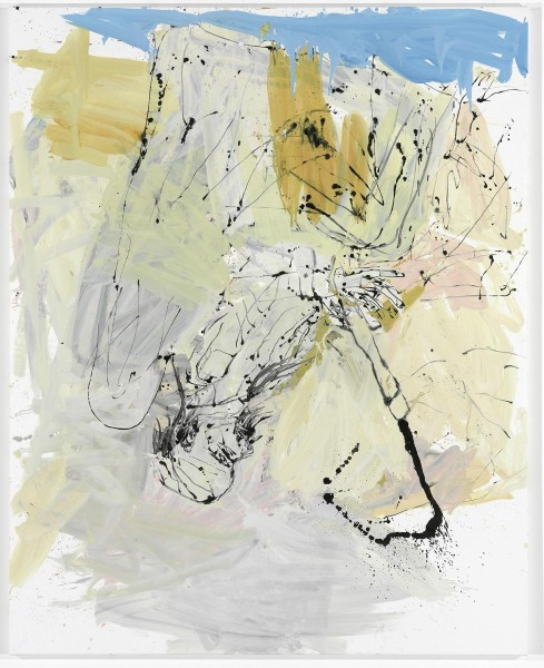 Georg Baselitz, Sofadekret, 2009, oil on canvas, 250 x 200 cm.  © Georg Baselitz. Photo © Jochen Littkemann, Berlin. From 'Tightrope Walk: Painted Images After Abstraction', installation view, North & South Galleries, White Cube Bermondsey, 25 November 2015 - 24 January 2016. Image courtesy White Cube.