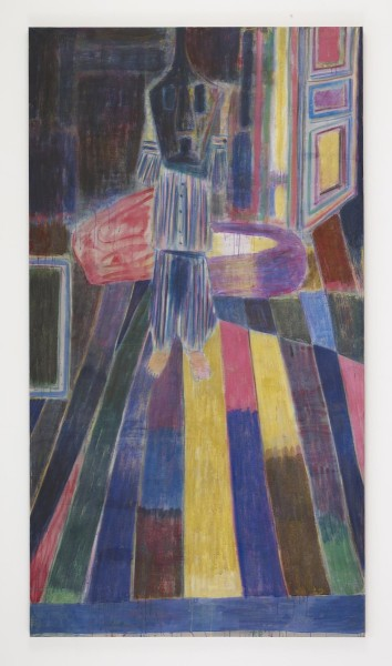Tal R., Pyjamas, 2011, Hare glue, pigment and pastel on canvas, 312 x 312 cm. © the artist. Courtesy Victoria Miro. From 'Tightrope Walk: Painted Images After Abstraction', installation view, North & South Galleries, White Cube Bermondsey, 25 November 2015 - 24 January 2016. Image courtesy White Cube.