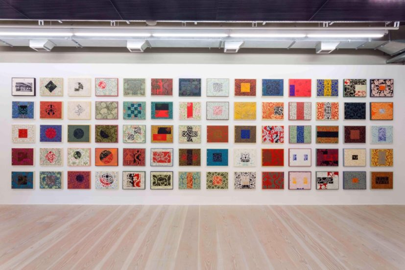 Rhythm 69, 2009, installation Focal Point Gallery, seventy 20 x 16 inch canvases, paint on wallpaper mounted on canvas, 2014