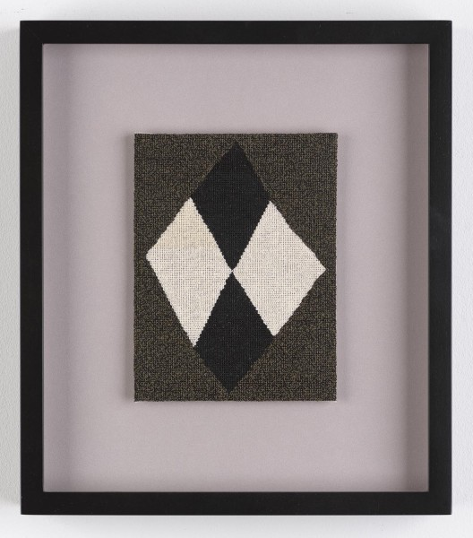 Narelle Jubelin, As yet untitled (Mira Schendel, 1963), 2014, cotton on silk petit point, 27.5 × 24cm, framed. © the artist, Courtesy of Marlborough Contemporary, London. Photo: Francis Ware.
