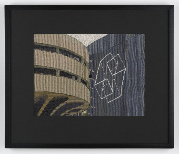 Narelle Jubelin, As yet untitled (Harry Seidler & Josef Albers, 1977), 2015 cotton on silk petit point, 38.5 × 45.5 cm, framed. ©the artist, Courtesy of Marlborough Contemporary, London. Photo: Francis Ware.