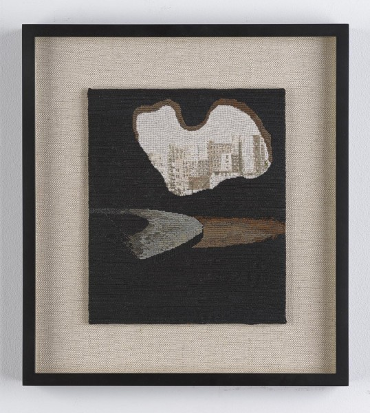 Narelle Jubelin, As yet untitled (Lina Bo Bardi, 1987), 2014, cotton on silk petit point, 37 × 33cm, framed. © the artist, Courtesy of Marlborough Contemporary, London. Photo: Francis Ware.
