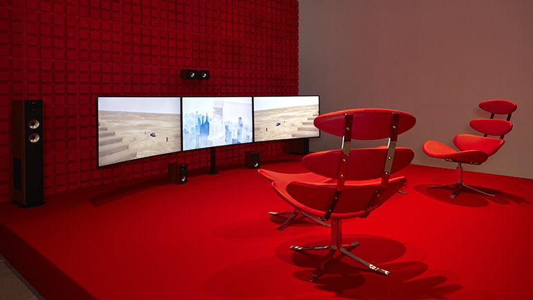 Hito Steyerl, Duty-Free Art, installation view, Museo Nacional, Centro de Arte Reina Sofia, Madrid, 2015. Courtesy the artist and Andrew Kreps Gallery, New York. Image courtesy Museo Nacional, Centro de Arte Reina Sofia, Madrid.