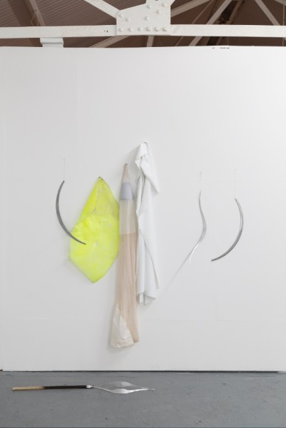 Installation view. Miriam Austin, Prosthetics for Hostile Contexts (Tools), 2015. Aluminium, silk thread; Miriam Austin, Prosthetics for Hostile Contexts (Vestments) 2015. 150cm x 85cm x 15cm. Reflective fabric, platinum silicone. Courtesy Oskar Proctor
