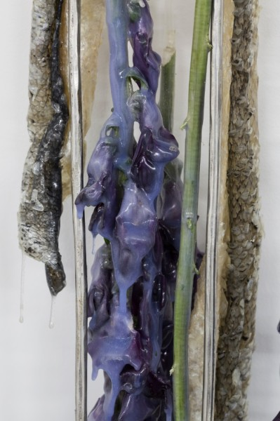 Detail. Miriam Austin, Prosthetics for Hostile Contexts (Fish skins, Antirrhinum), 2015. Dimensions variable. Platinum silicone, dried Antirrhinums, silk thread, steel. Courtesy Oskar Proctor