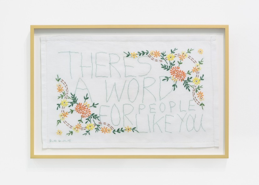 There is a Word for People Like You, antique embroidery with cotton silk cross stitch, 31 x 50cm, 38 x 56cm framed, 2015. Image courtesy the artist. © the artist