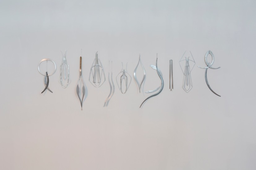 Installation view. Miriam Austin, Prosthetics for Hostile Contexts (Tools), 2015. Dimensions variable, aluminium. Courtesy Oskar Proctor