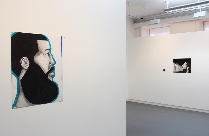 Derrick Alexis Coard, Self-Examination, 2015, marker pastel and graphite on paper, courtesy of the artist, Matthew Higgs and Healing Arts Initiative, installation view at Project Ability, Glasgow International, 2016. Photo: Berengere Chabanis
