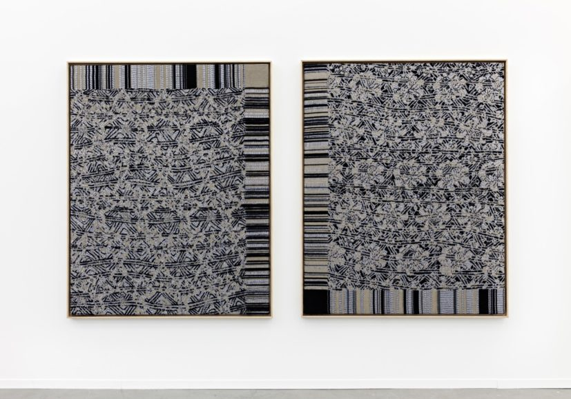 Lisa Oppenheim, Jacquard Weave (SST 638a/SST 520), 2014. Jacquard woven textile in wooden frame, AP 1 of 1, each part: 177 x 142cm. Courtesy the artist and The Approach, London.