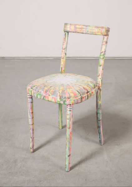Hayley Tompkins, Chair, 2013, Acrylic paint, chair, 82 x 39 x 44 cm. Image courtesy of the artist and The Modern Institute/Toby Webster Ltd, Glasgow