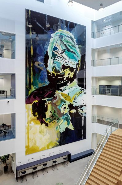 The Perseverance, enamel on aluminium, 15m x 8m (20 x panels; 3m x 2m each), 2015. Collection VIA University, Aarhus, Denmark