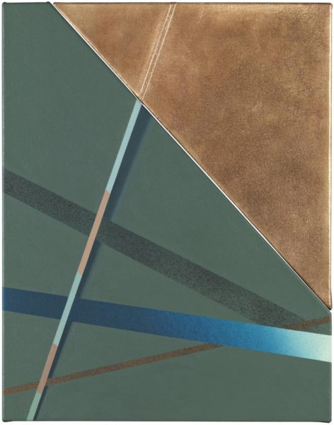 Tomma Abts, Menso, acrylic and oil on canvas and bronze, 48 × 38cm, 2016. Photo: Marcus Leith. Courtesy of greengrassi, London.
