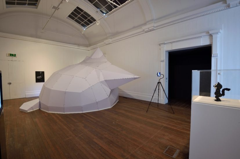 Mark Leckey, Installation view: This Kolossal Kat, That Massive MOG, Grundy Art Gallery, Blackpool, 14 May – 13 August 2016. Courtesy the artist and Cabinet, London. Photo: Jonathan Lynch