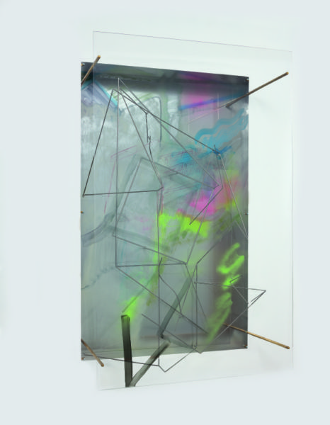 Sara Barker, Minerva made a dream to order Patterns she saw as signs, 2015 Stainless steel, brass rod, folded aluminium sheet, glass, perspex, automative paint, spray paint. Courtesy the artist; The Approach, London. Photo: Ruth Clark.