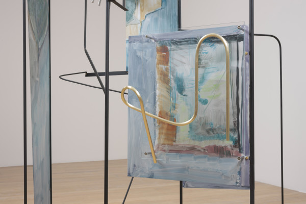 Sara Barker, metamorphosis of friends disappeared subtle structures (2016) (detail) Aluminium sheet, steel rod and bar, Perspex, brass rod, automotive paint Courtesy the artist; Mary Mary, Glasgow; carlier | gebauer, Berlin; The Approach, London