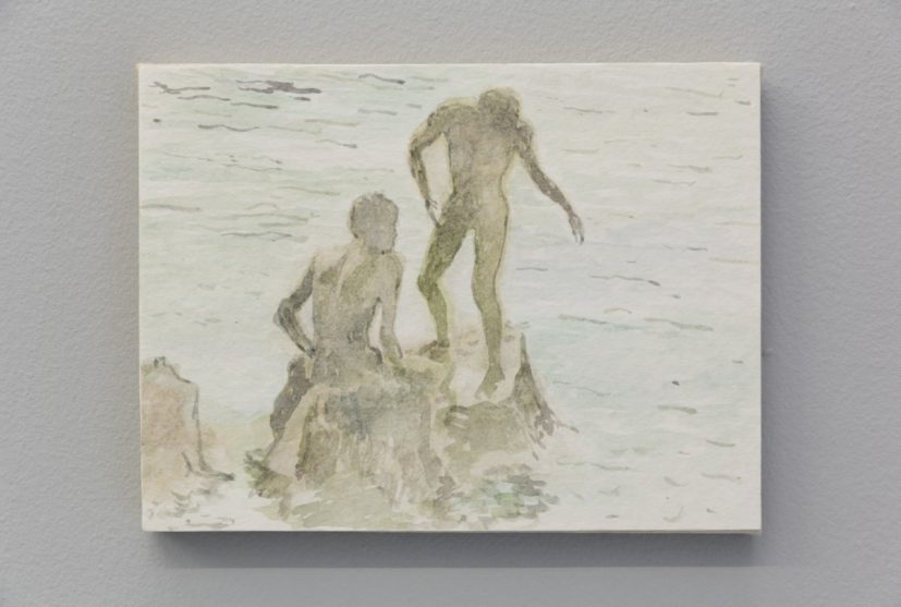Adrian Paci, Nuotatori, 2014. Watercolour on paper mounted on canvas. 18.7 x 24.4 x 3 cm. Courtesy the artist and Frith Street Gallery, London. Photography: Steve White