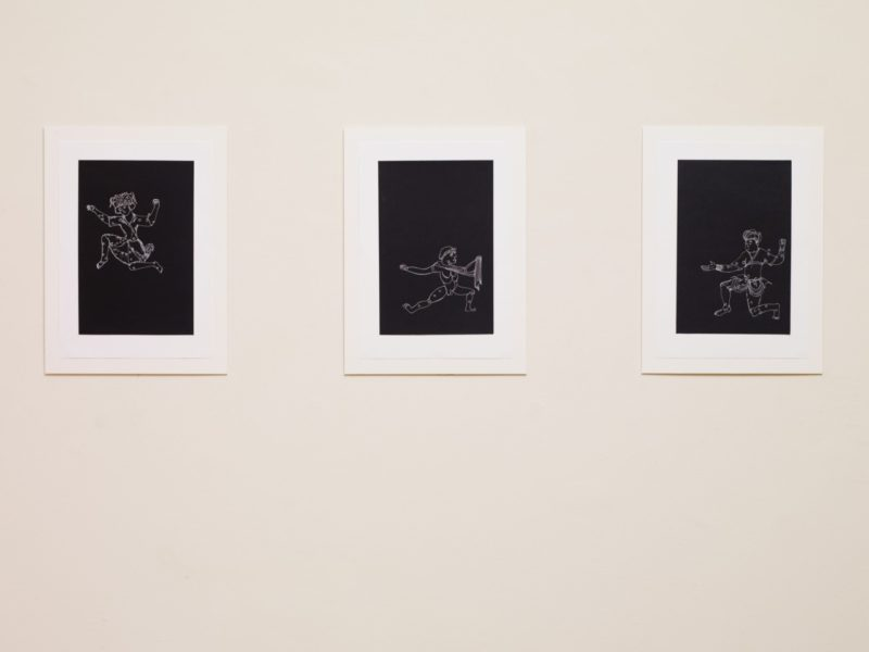 Giuliana Racco, Untitled, 2016. Three white rotring ink drawings on black Fabriano paper. 14.8 x 21 cm. Courtesy the artist and Frith Street Gallery, London. Photography: Steve White