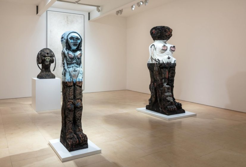 Installation view of Huma Bhabha at Stephen Friedman Gallery. Courtesy Stephen Friedman Gallery, London. Photographer: Mark Blower