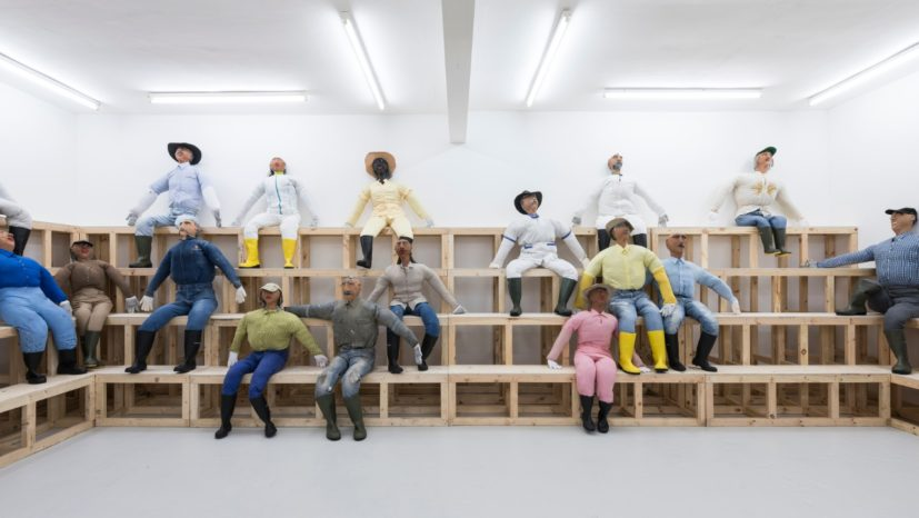 Oscar Murillo 'Human Resources', 2016, 8780 x 9830 cm, wooden seating, effigies, Carlos Ishikawa