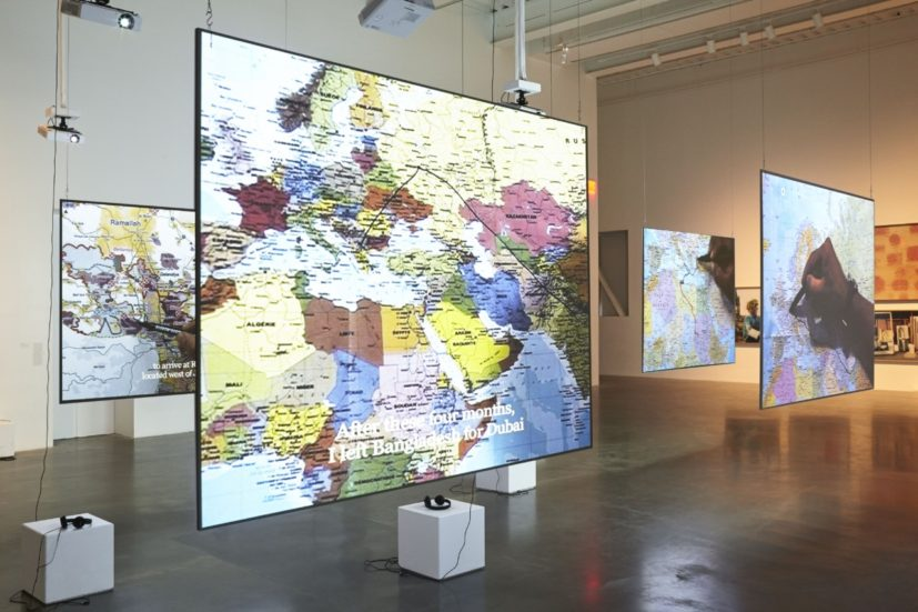 Bouchra Khalili, The Mapping Journey Project, 2008-2011. Installation view, 'Here and Elsewhere', New Museum. Courtesy New Museum, New York. Photos Benoit Pailley