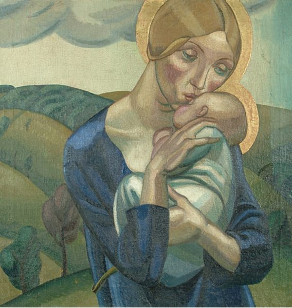David Jones, Madonna and Child in a Landscape, 1924. Oil on canvas, 61 x 61 cm. Image courtesy of Ditchling Museum of Art + Craft