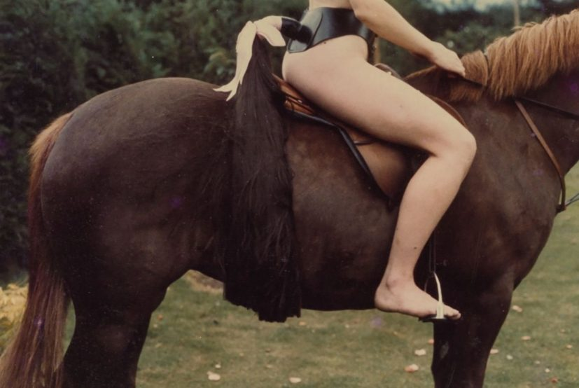Rose English, Rose on Horseback with Tail, 1974/2012, C-type photograph, 50.8 x 76.2 cm, Edition 1/6 + 4 APs. © the artist, courtesy Richard Saltoun Gallery and Karsten Schubert Gallery.