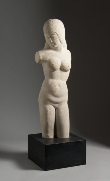 Eric Gill, Torso - Woman, 1913. Bath stone, on a slate base, 57.8 x 18 x 11.5 cm excl base. Courtesy of the Ingram Collection of Modern British Art / Image credit © JP Bland