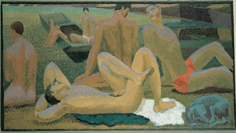 Duncan Grant, Bathers by the Pond, c1920-21. Oil on canvas, 49 x 90 cm, Pallant House Gallery © 1978 Estate of Duncan Grant, courtesy Henrietta Garnett / DACS 2016